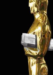 Proposta alternativa con statuetta degli oscar con giornale sottobraccio