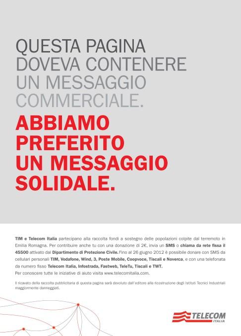 Proposta alternativa per la campagna Telecom Italia di promozione all'SMS solidale in Emilia Romagna.