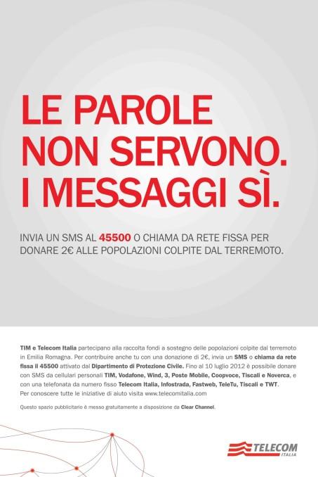 Proposta on air per la campagna Telecom Italia di promozione all'SMS solidale in Emilia Romagna.
